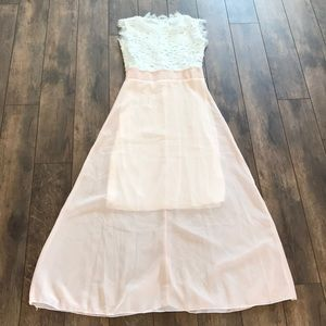 Pink & White M Maxi Dress With Lace Accent